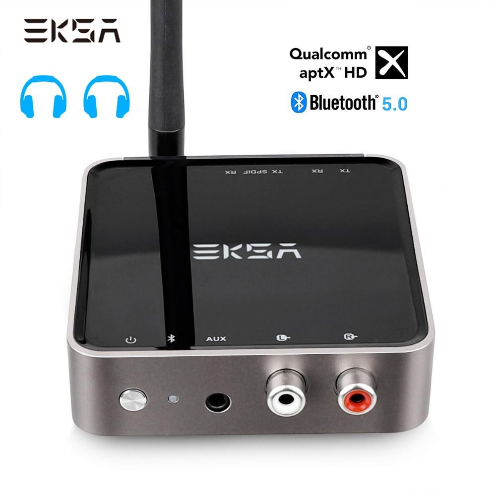 Eksa bluetooth 5.0 transmissor receptor aptx hd adaptador de áudio sem fio óptico toslink/3.5mm aux/spdif para tv fone de ouvido alto-falante
