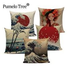 Fundas decorativas para cojines Vintage ropa de calidad alta personalizada estilo de pueblo Ukiyo decoración funda de almohada 45X45Cm almohadas de impresión cuadrada
