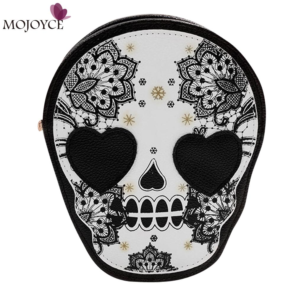 Halloween Skull Printing Women Crossbody Shoulder Bag PU Leather Skull Design Women Messenger Bags Handbag and Purses