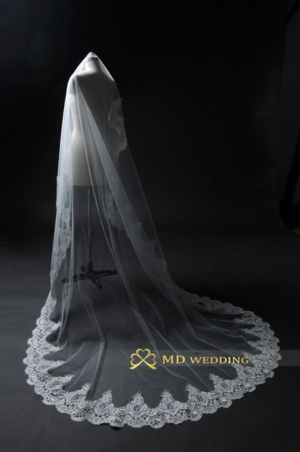 Hot 3M Real Photos White/Ivory Cathedral Length Lace Mantilla Crochet Bridal Veil Headdress With Comb Wedding Accessories MD3079