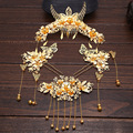 4pcs sets bride headdress chinese Costume combs tassel coronet classical step shake dress hair jewelry wholesale