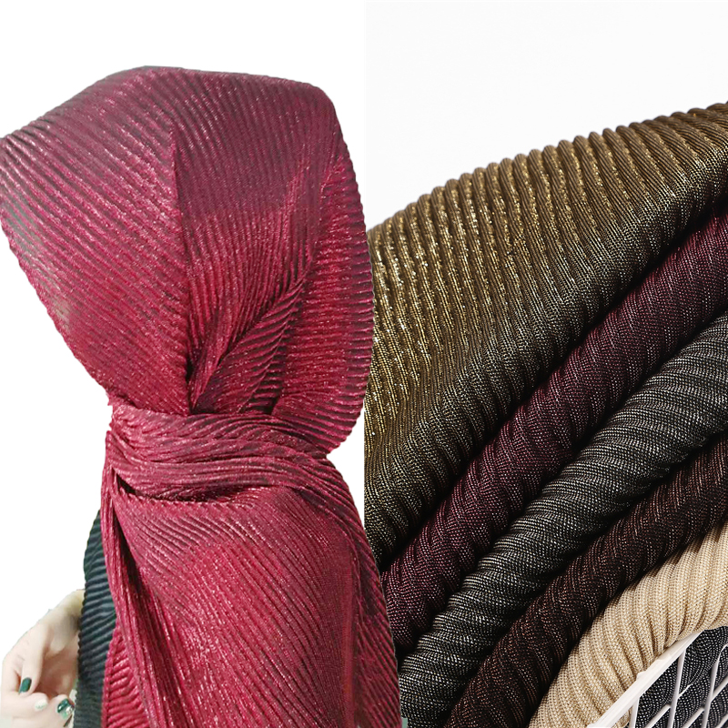 New Long Size Women Wrinkle Crinkle Bubble Shinny Scarf Muslim Hijab Scarf Turban Head Wrap Solid Color Pleated Scarves