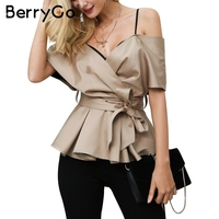 BerryGo Backless V Neck Blouse Shirt Women Tops Satin Sash Bow Shirt Blouse Chemise Femme Elegant