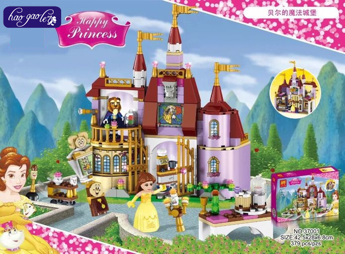 Princess Belle's Enchanted Castle 379Pcs Beauty and The Beast Building Blocks Bricks Toys For Kids Compatible with Lepin 41067 kazi 608pcs pirates armada flagship building blocks brinquedos caribbean warship sets the black pearl compatible with bricks