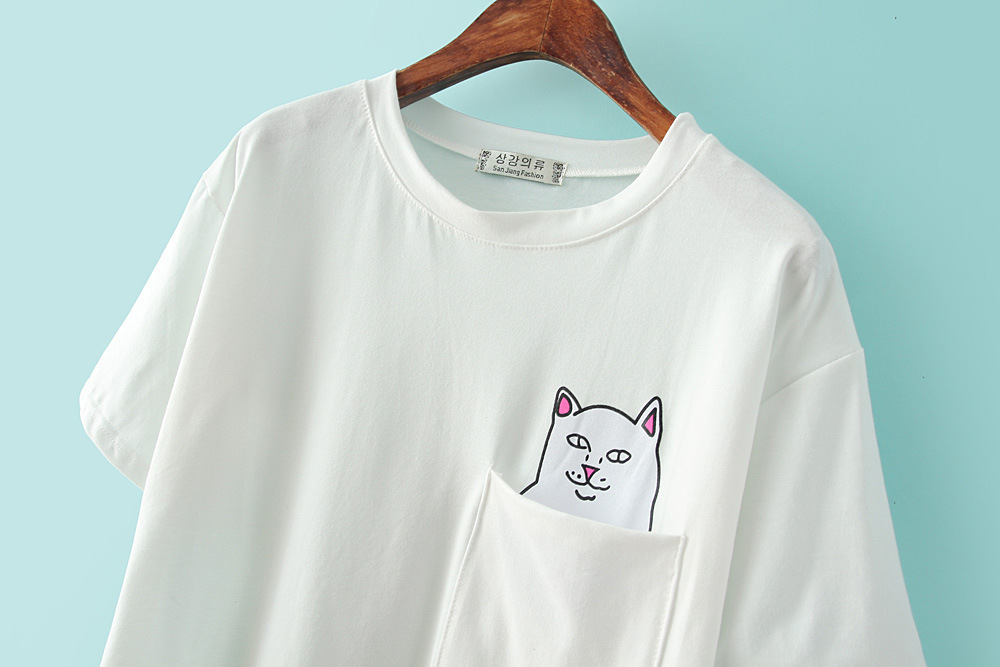 a9414a20 Summer round neck cartoon cat cheap single pocket T shirt printing T shirt  Women Tops XY3003-in T-Shirts from Women's Clothing on Aliexpress.com |  Alibaba ...