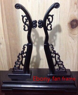 Fait à la main ébène rond ventilateur décor Stand Vintage classique décoration Ebene Base poignée ventilateur cadre