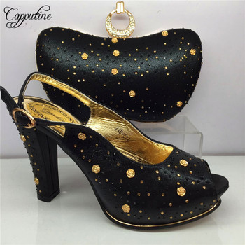 Capputine Summer Fashion Rhinestone Shoes And Bags Set Italian Syle Pumps Woman Shoes And Bag Set For Party 6Colors BL995C