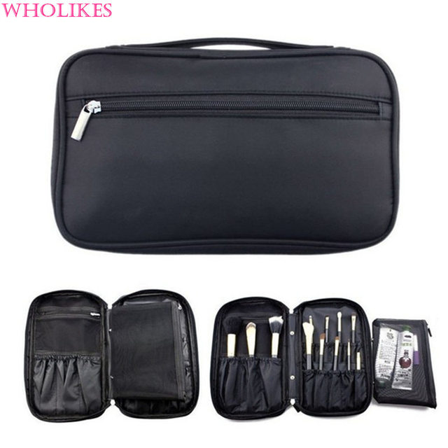 Wholikes Brand 2016 Fashion Women Black Oxford Cloth Cosmetic Bag Beautician Necessarie Professional Cosmetic Storage Makeup Bag