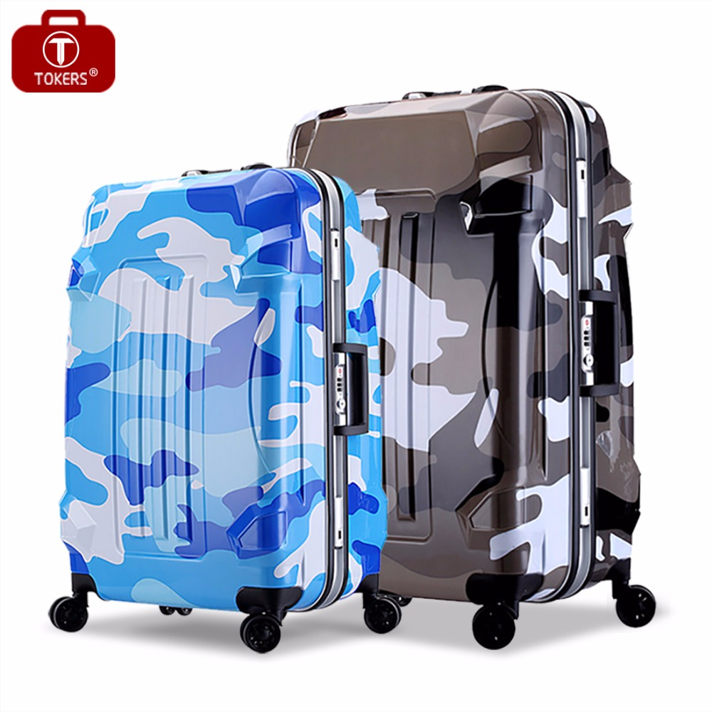 Tokers Luggage Rolling Carry on Girls Luggage Bag on Wheels 20inch 24inch  Valise TrolleyCamouflage luggage