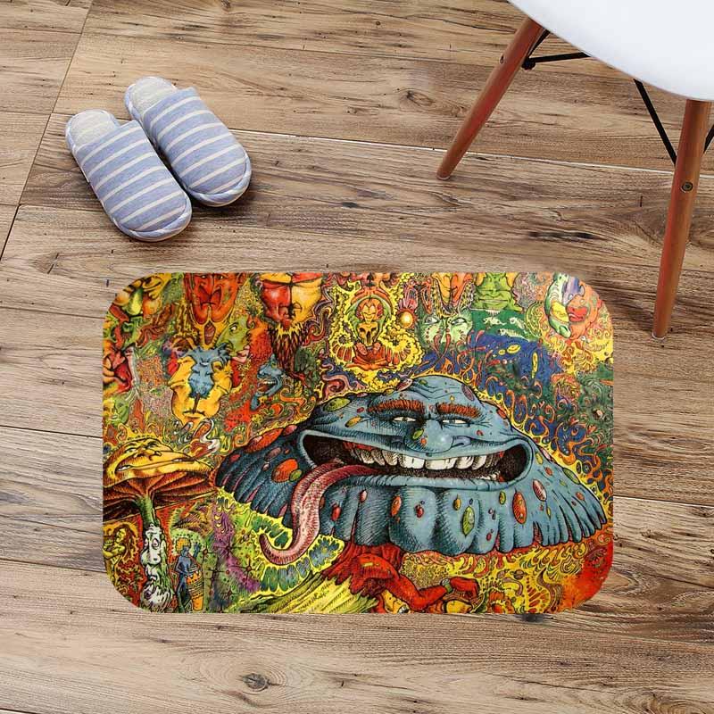 Crazy Trippy Doormat Floor Mat Anti-slip Water Absorption Carpet Kitchen Mat Door Mat Custom Toilet Rug Bathmat