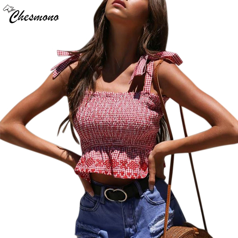 Lace up bow strap camisole tank top female Backless slim elastic plaid casual cropped top women Skinny streetwear cami top