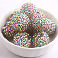 12mm/16mm/10mm to 26mm New Light Gold  AB Color Whoelesales Price Chunky Resin Rhinestone Beads Ball for Kids Necklace Jewelry