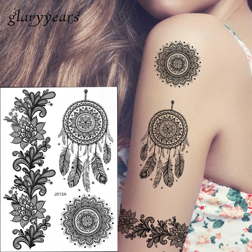 1pc Hot Fashion Large Indian Mehndi Henna Women Body Art Glitter Tattoo Kit Bj013a Feather Black Style Temporary Tattoo Stencils Stencil Printer Tattoos Artworktattooed Lady Body Art Aliexpress