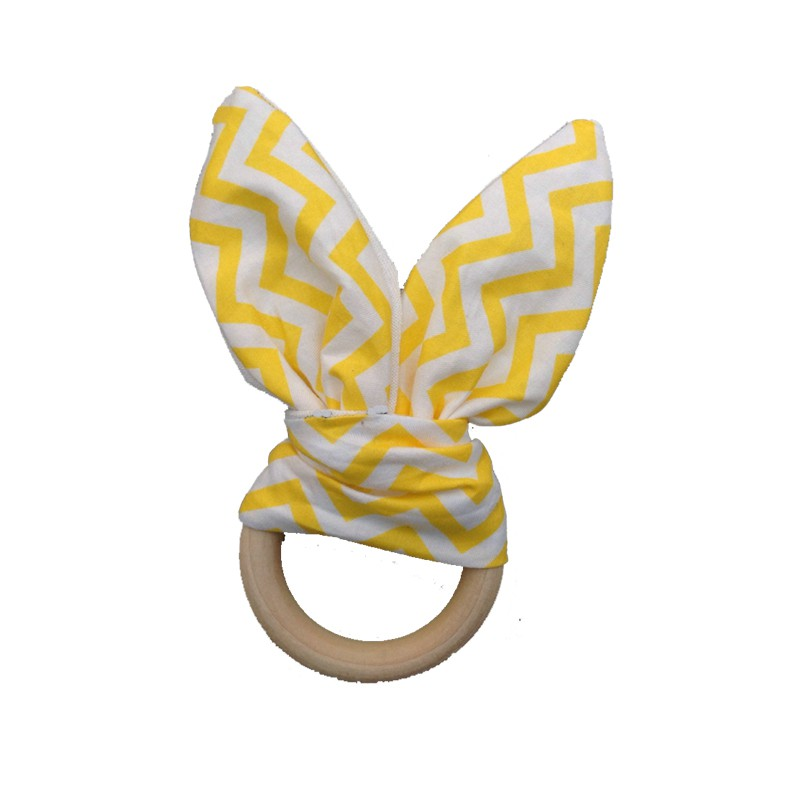 Hand Soft Little Rabbit Ears Baby Toy Wooden Grasp Toy Rattles Develop Baby Intelligence Baby Grasping Toy Hand Bell