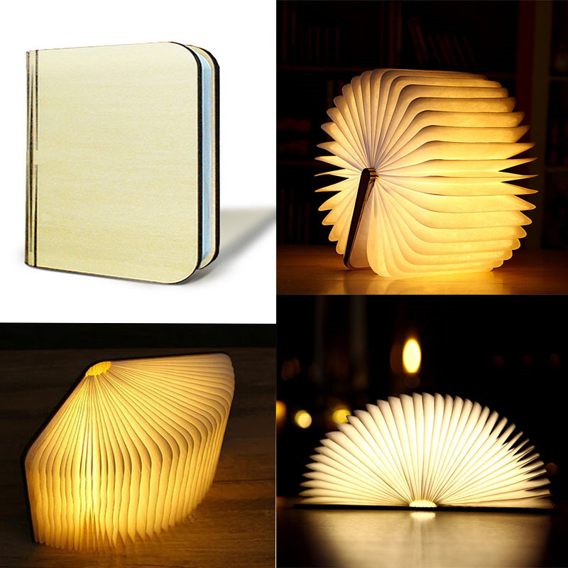 Home Decoration 5V/2000mA LED Foldable Pages Wooden Book Nightlight Desk Lamp USB Rechargeable Folding Book Reading Night Light led night light folding pages book light creative usb port rechargeable desk lamp wooden magnet cover home table light lamp