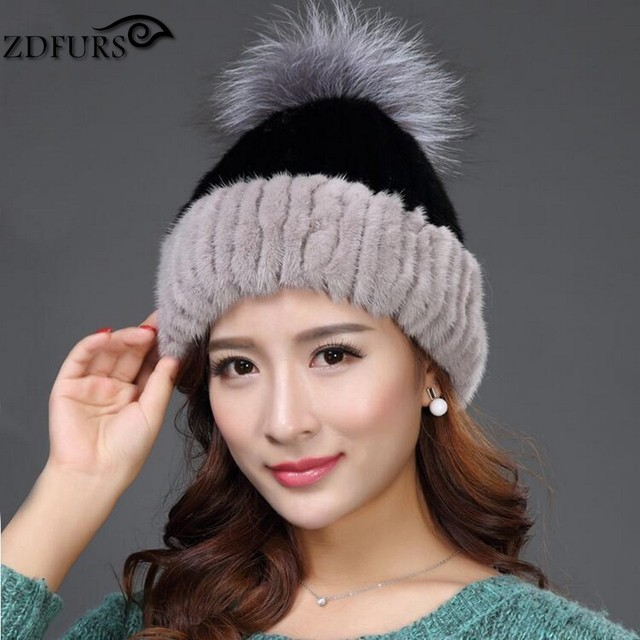 ZDFURS * real mink fur hat for women winter knitted mink fur beanies cap with fox fur pom brand new thick female cap ZDH-161016