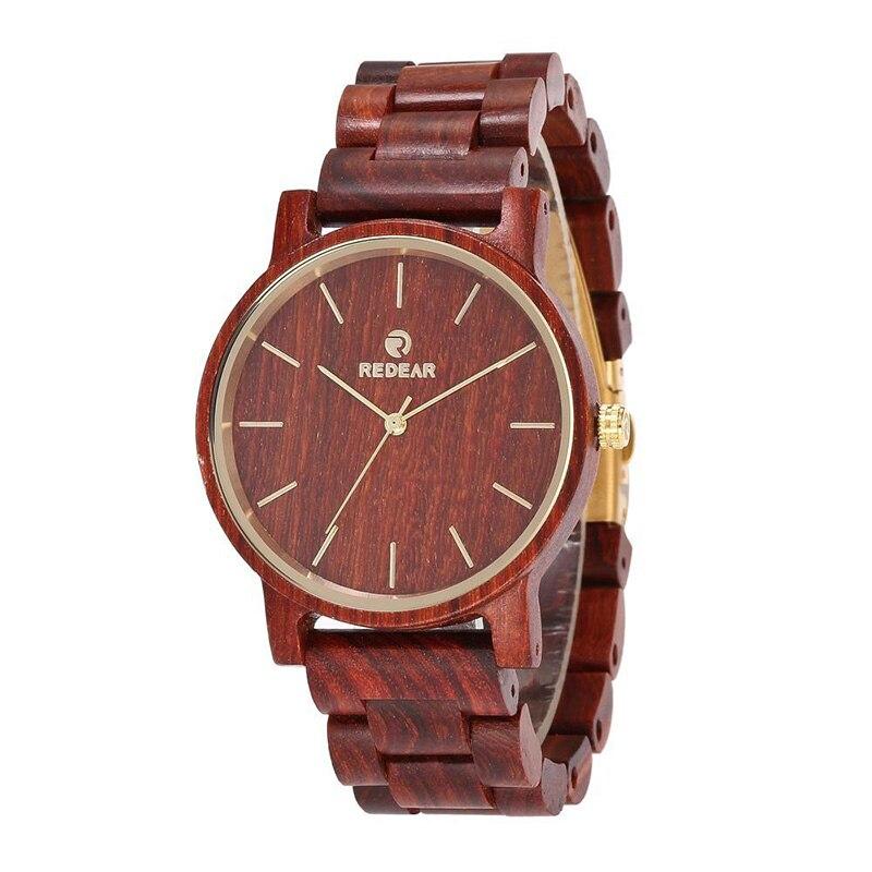Montre-bracelet à Quartz en bois pour hommes montres élégantes avec bracelet en bois de santal rouge montres décontracté LL @ 17