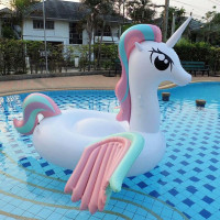 250cm Giant Rainbow Unicorn Pool Float Newest Pegasus Women Ride on Swimming Ring Lie on Air Mattress Inflatable Water Toys boia