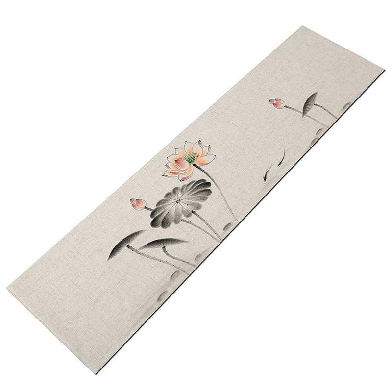 Китайский стиль дзен лен хлопок чайная посуда коврик ручная роспись винтажный настольный бегун кунг-фу чайный сервиз аксессуары ресторан Свадебный декор