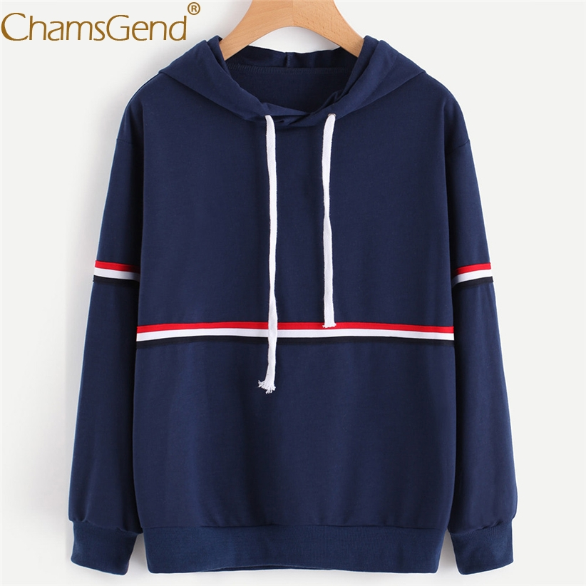 Chamsgend Hoodies Women Girls Casual Striped Navy Hoodie Sweatshit Female Tops Shirt 71218