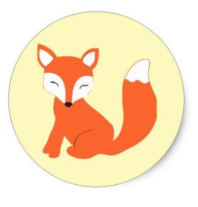 Купить с кэшбэком 1.5inch Cute Woodland Baby Fox Classic Round Sticker