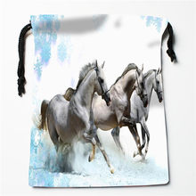New Handsome horse printed storage bag 27x35cm Satin drawstring bags Compression Type Bags Customize your image gifts