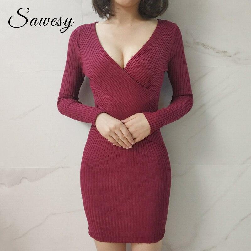 Sexy Pencil Bodycon Dresses Women 2018 Autumn Winter Long Sleeve Wrap Knitted Sweater Dress Women Mini Red Black Dress Sweater