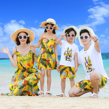 Sand Beach family matching outfits look mother daughter tank dresses dad son mommy and me clothes mom clothing sets