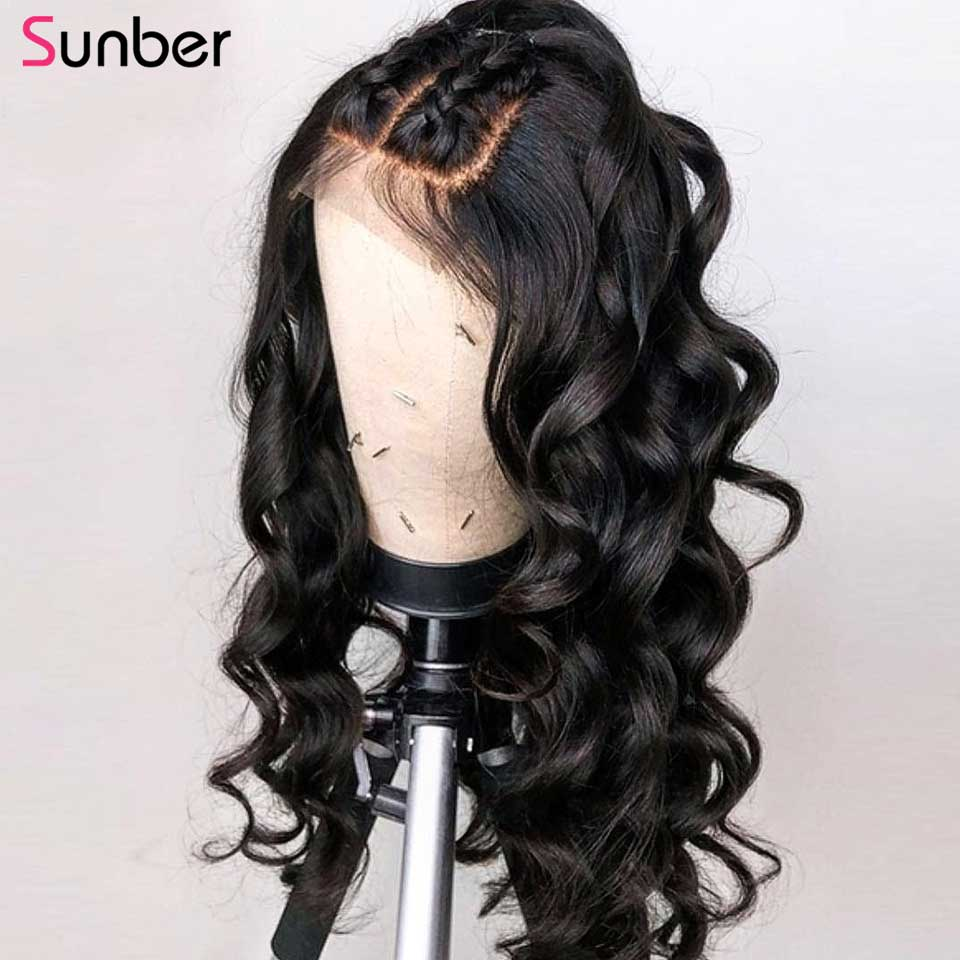 Sunber Hair Peruvian Lace Front Hair Wig For Black Women 150% Density Remy Pre Plucked 13x4 Body Wave Lace Frontal Wigs