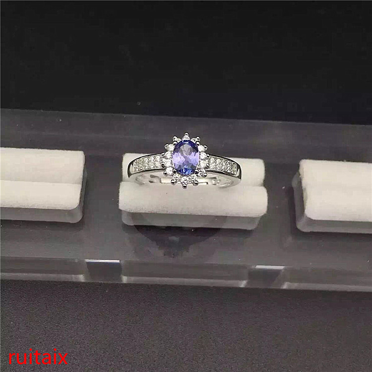 KJJEAXCMY fine jewelry S925 Pure silver inlaid with natural tanzanite ring jewelry platinum color. xcvb kjjeaxcmy fine jewelry s925 pure silver inlaid with natural tanzanite ring jewelry platinum color