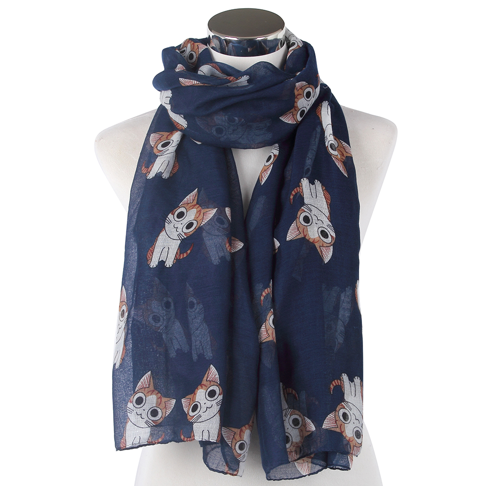 2018 New Fashionable Lightweight Lovely Navy Burgundy Cat Animals Print Long   Scarf   Soft   Wraps   For Womens Mother Gifts