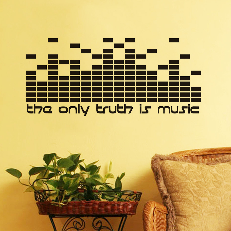 DIY The Only Truth Is Music Wall Decals Quotes DJ Equalizer Studio ...