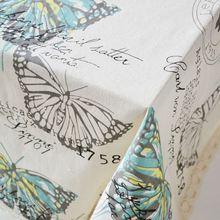 Mariposa de Lino del Paño de Tabla con Borde de Encaje de Impresión Rectángulo Cocina Toalha de mesa Cubierta de Mesa De Café Mantel Casa ZB-28