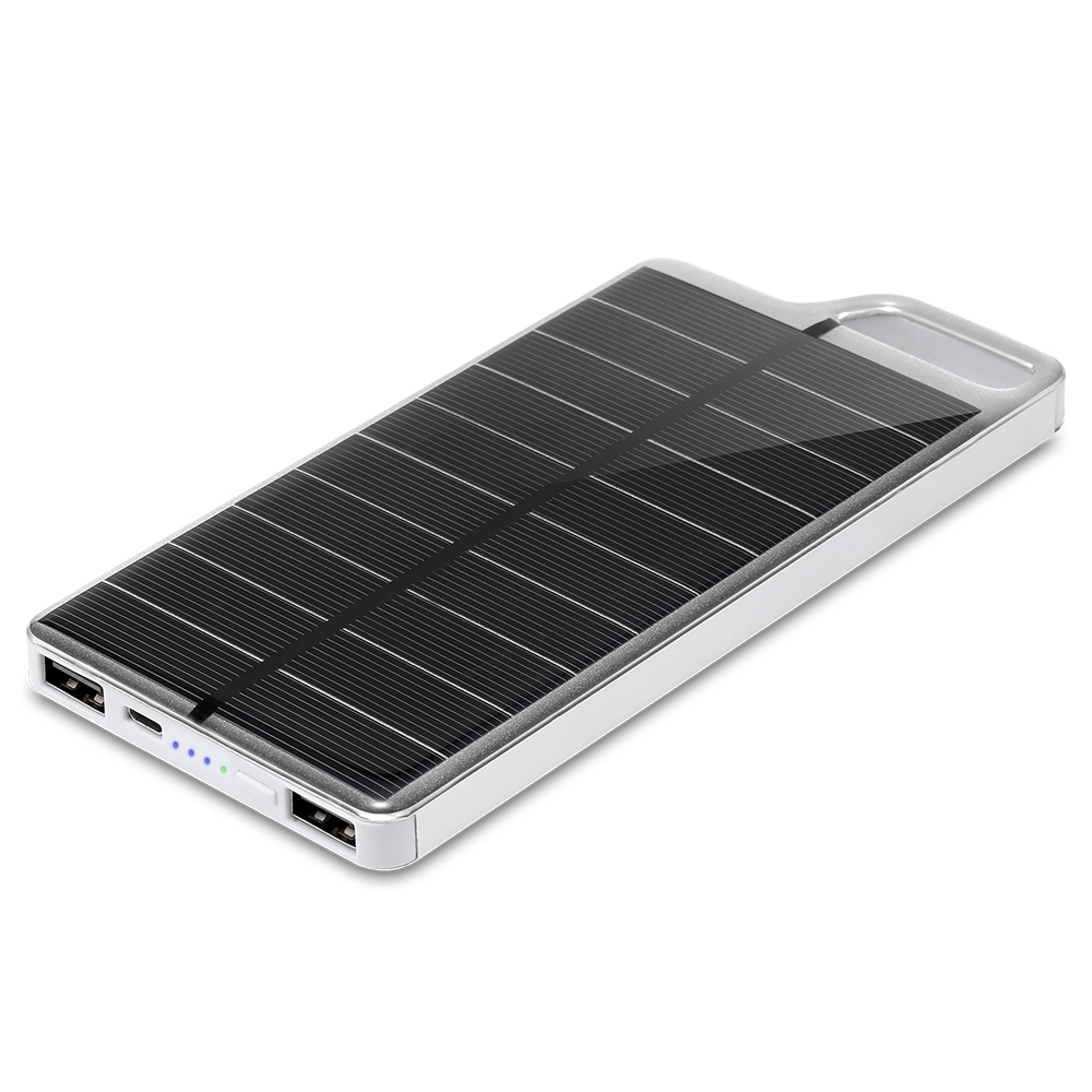 PowerGreen Small Size Solar Charger 10000mAh Portable Solar Power Bank External Battery Charger for Phone