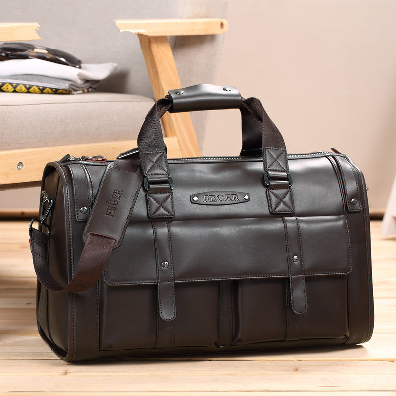 Real COW Leather Men's Travel Bag Large Capacity Business Bag Handbag Fashion Design Genuine Leather Weekend Duffle Handbag
