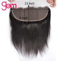 13x6 Eat To Ear Brazilian Straight Hair Lace Frontal Free Part Pre Plucked Frontal With Baby Hair Gem Beauty Remy Human Hair 1B#