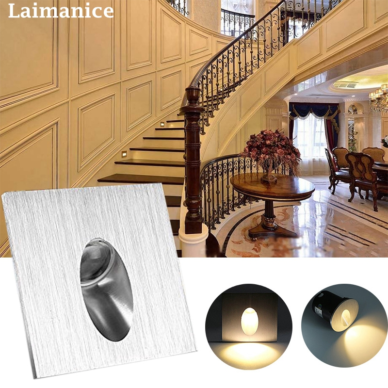 led Sconce Lamps 85-265v 3w / 1W Recessed Led Stair Light Wall Lights In Step / aisle lamps Embedded concrete walls lighting new design 86 embedded foot lights corner stair step led wall footlights lamps wall switch