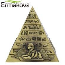ERMAKOVA Metal Egyptian Pyramids Figurine Pyramid Building Statue Home Office Desktop Decor