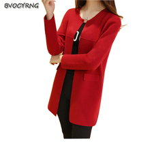 2017Korea New Fashion Leisure Women Spring Autumn Knitting Slim Coat Pure Color Round Neck Long Sleeve High-end candy coat Q428