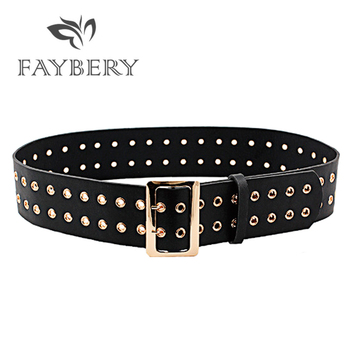 Golden Double Buckle Women Belt High Quality Faux Leather Belts for Women Jeans Korean Style Hollow Out Wide Waistband faux sapphire alloy hollow out floral barrette