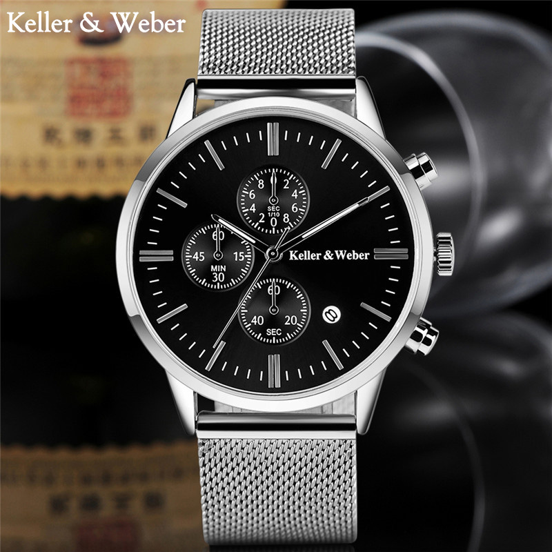 KELLER & WEBER 30M Water Resistence Business Watches Steel Analog Quartz Mans High Quality Minimalist Watch Men Reloj Hombre рубашка gerry weber gerry weber ge002ewwra96