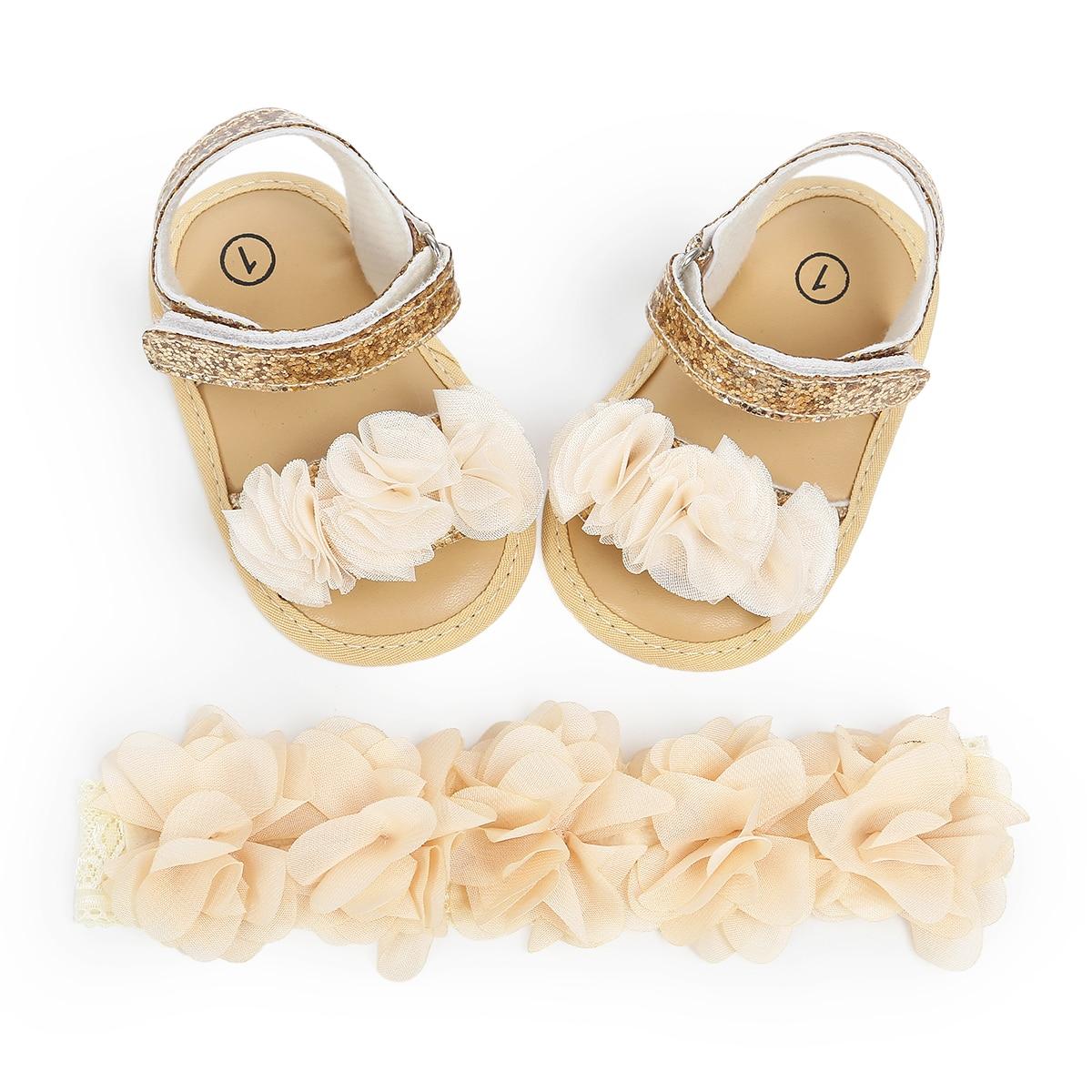 Princess Cute Newborn Baby Girls Flower Sandals Summer Casual Soft Crib Shoes+Headbands 2pcs First Prewalker Beach Sandals