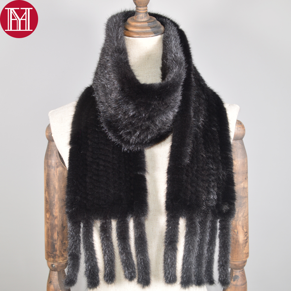 Scarf Shawl Real-Mink-Fur Knitted Warm Long-Style Quality Women Soft Handmade Genuine