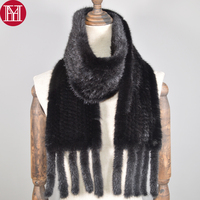 Long Style Women Real Mink Fur Scarf Genuine Real Mink Fur Scarfs Warm Soft Handmade Quality Knitted Real Mink Fur Shawl Scarves