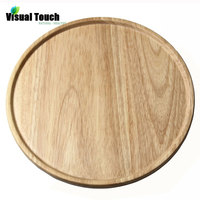 Visual Touch 30cm Large Tray Oak Wood Plate Dinnerware Serving Tray Buffet Dishes Break Proof Fruit Dessert Plates Pizza Stones