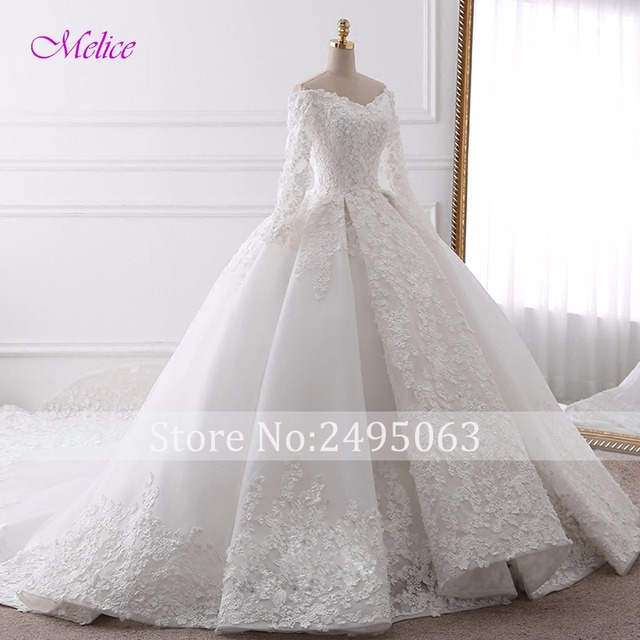 Glamorous Appliques Chapel Train Ball Gown Wedding Dress Fashion Sweetheart Neck Long Sleeve Bridal Dress Vestido de Noiva