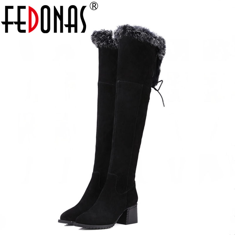 FEDONAS Warm Snow Winter Boots Women Genuine Leather Boots Women Over The Knee High Boots Sexy Thick Heeled Martin Shoes Woman 2017 sexy thick bottom women s over the knee snow boots leather fashion ladies winter flats shoes woman thigh high long boots