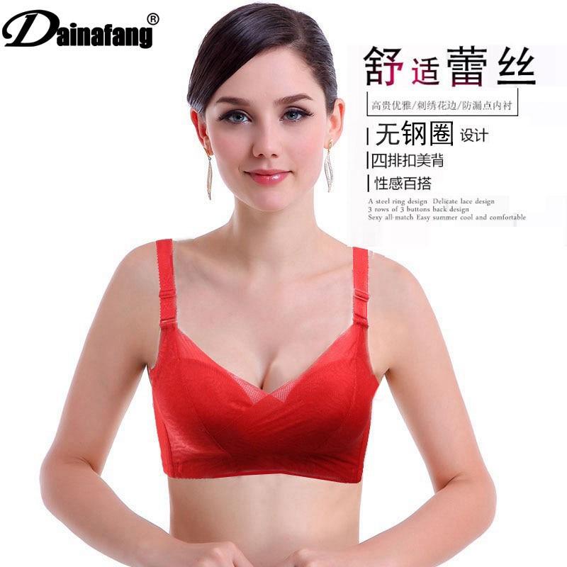 f4762680aa2ba DAINAFANG مثير موس امرأة مثير الملابس الداخلية الأحمر ضئيلة الأسود الصدرية  الدانتيل زائد حجم حمالة الصدر pushand ABC كوب الأبجدية مجوهرات