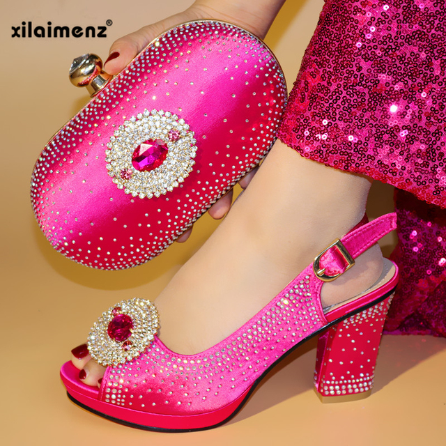 Fuchsia Color Italian Shoes With Matching Bag For Party With Stones Wedding Shoes And Purse Set High Quality Women Sandals