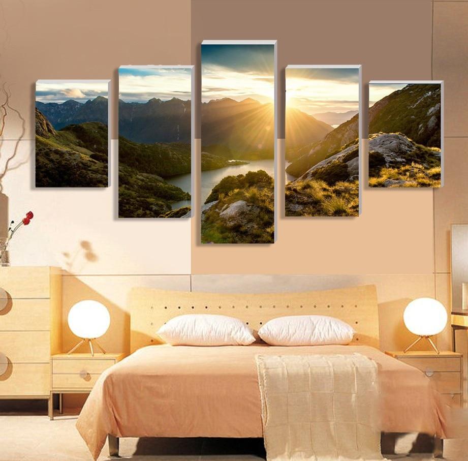 5 Panel Painting On Canvas Art Sunrise mountain Modular Wall Art ...